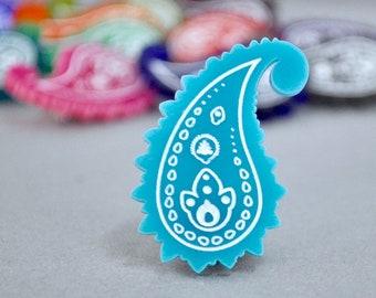 Laser Cut Acrylic Paisley Pin