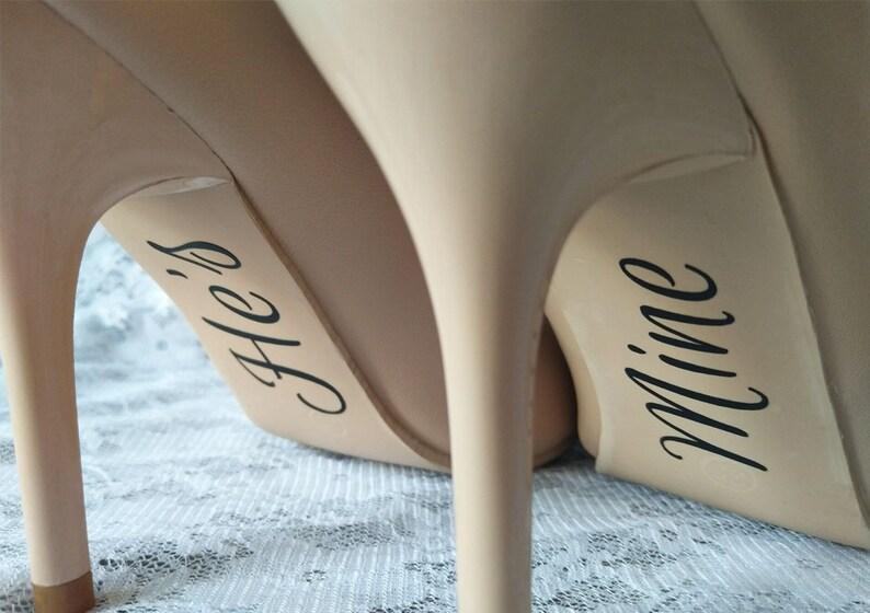 da6b07286788 He s and Mine Shoe Decal Wedding Shoe Decal Wedding
