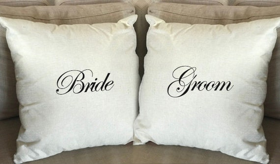 Bride And Groom Pillow Cover Customized Pillow Cover Wedding Etsy Adorable Customized Pillow Covers