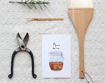 Postcard with plum wine, fruits, wine, illustration
