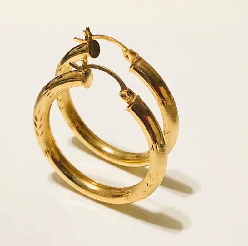 14KT Gold Diamond-Cut Large Hoop Earrings Real Gold Large Hoop Earrings 3.9mm Thickness Yellow Gold Hoops Diamond Cut Hoops