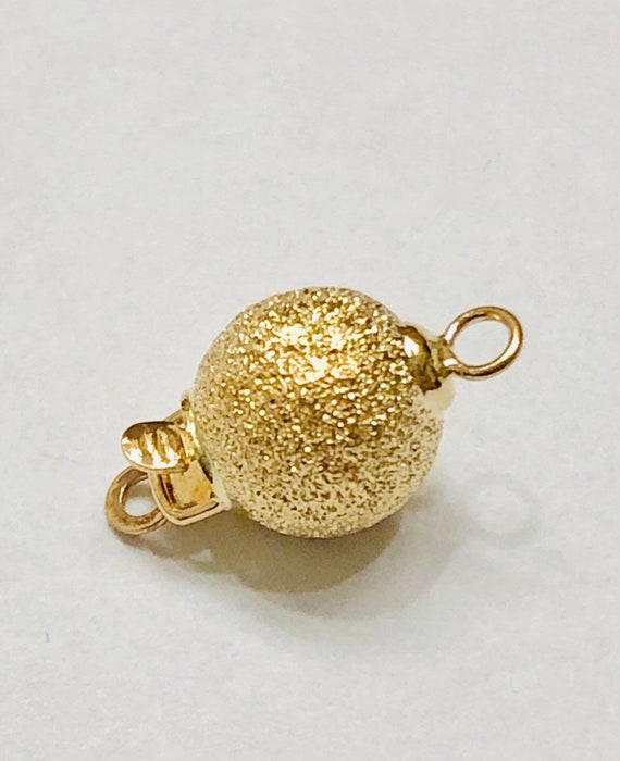 1 Piece 8mm 14K Yellow Gold Corrugated Ball Pearl Clasp