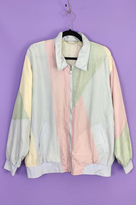 Vintage 80s 90s Jacket - Pastel Pink, Yellow, Blue