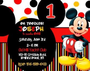 Mickey Mouse 1st Birthday Invitation