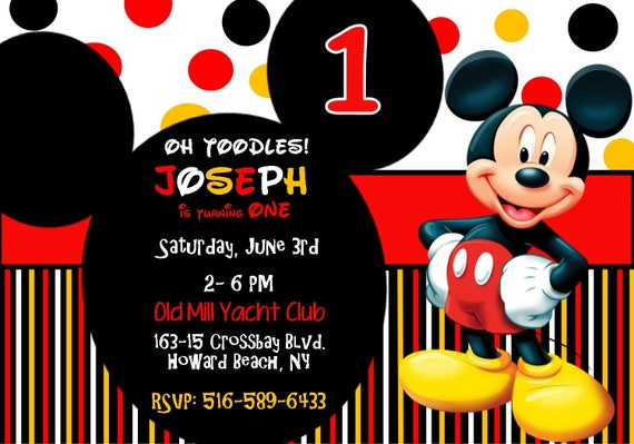 Mickey Mouse 1st Birthday Invitation