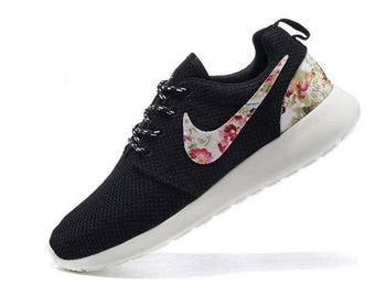 new concept 6cb63 1778e Custom Nike Roshe Run athletic running shoes with floral print