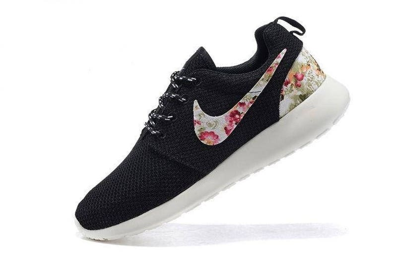 huge discount 2d686 60eef Custom Nike Roshe Run athletic running shoes with floral print   Etsy