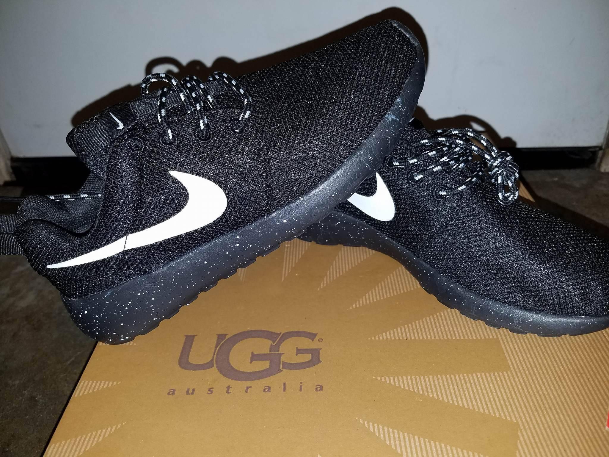 quality design 67095 5b8e7 Custom Nike Roshe Run Oreo athletic running shoes White Speckled
