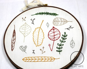 Fall Leaves Embroidery Decoration (Handmade)