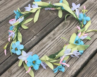 blue, white, and pink flower crown, music festival, wedding flower crown