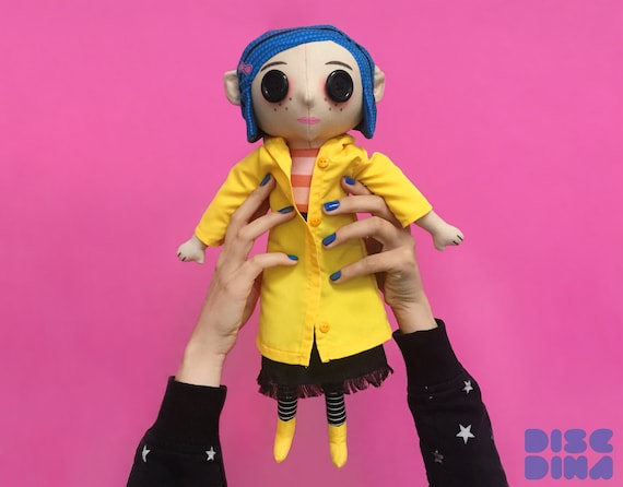 Coraline Doll Plush Toy Sky Doll Blue Hair Button Eyes Etsy