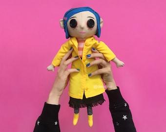 CORALINE Doll -plush toy - fan textile art- blue hair- button eyes- yellow raincoat- OOAK- movie animation- plushies- halloween movies