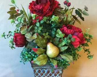 Christmas floral arrangements etsy red silk floral arrangement centerpiece red peonies berries pear christmas holiday mightylinksfo