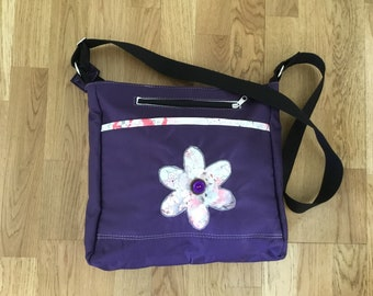 Handmade, soft canvas, waterproof, purple, cross the body shoulder bag
