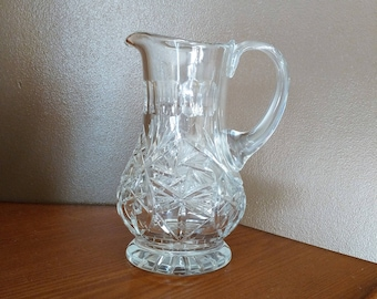 """Heavy Vintage Glass Crystal Pitcher for Water Milk Juice. Footed Base. 9"""" Tall in Excellent Condition"""