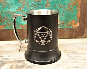 Engraved Stainless Steel Tankard   Choice Of Designs   DND Tabletop Gaming Accessory   RPG Gift   Dungeons and Dragons, Pathfinder etc