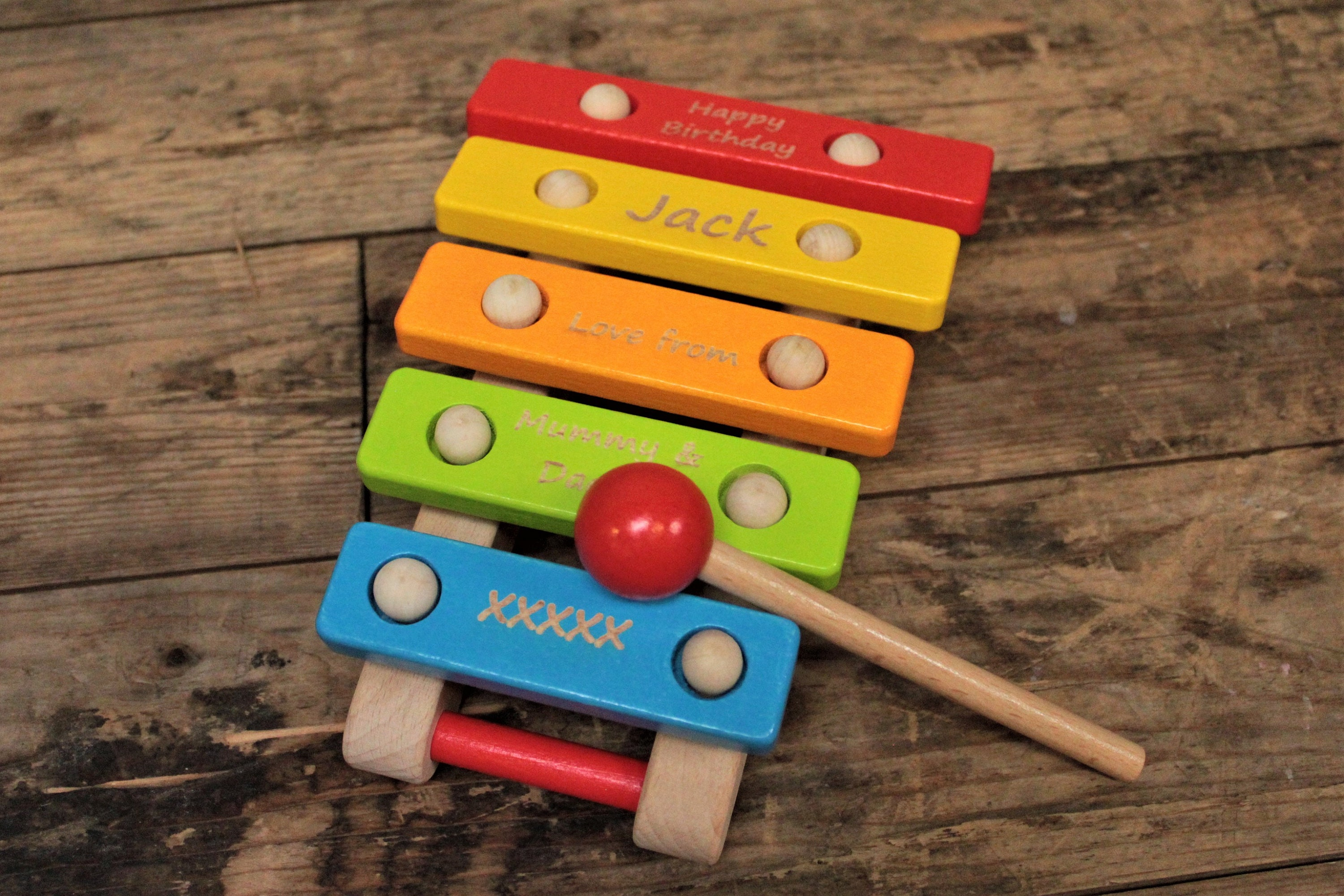 personalised 5 tone wooden xylophone | childrens toy | personalised toddler  toy | christmas birthday gift | unique gift idea for children