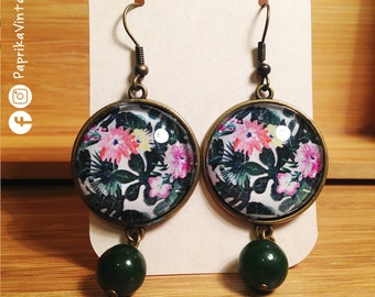Flora Pendant Earrings with 25 mm cabochons