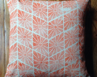 Orange Handmade Block Printed Pillow with Feather Insert 18X18
