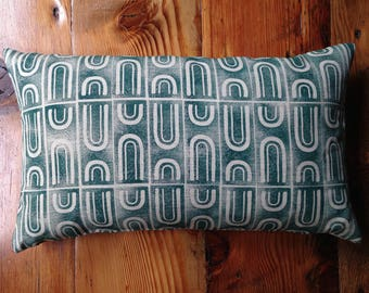Green Handmade Block Printed Pillow with Feather Insert 24X14