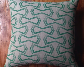 Green Handmade Block Printed Pillow with Feather Insert 18X18