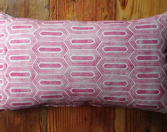 Pink Handmade Block Printed Pillow with Feather Insert 24X14