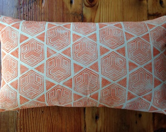Orange Handmade Block Printed Pillow with Feather Insert 24X14