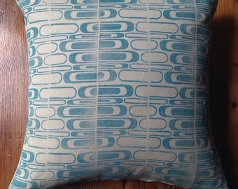 Blue Handmade Block Printed Pillow with Feather Insert 18X18