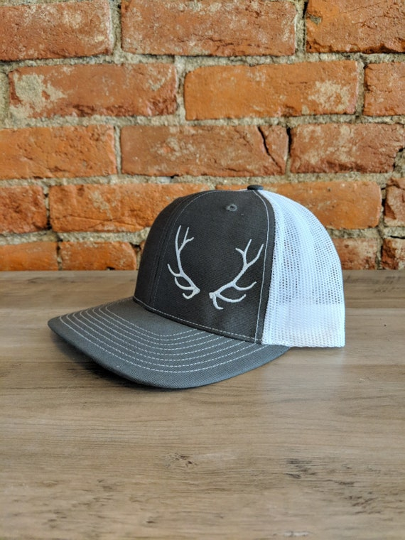 Elkhorn Embroidery Antler Hat on Richardson 112 Charcoal White  1cecbf553e5