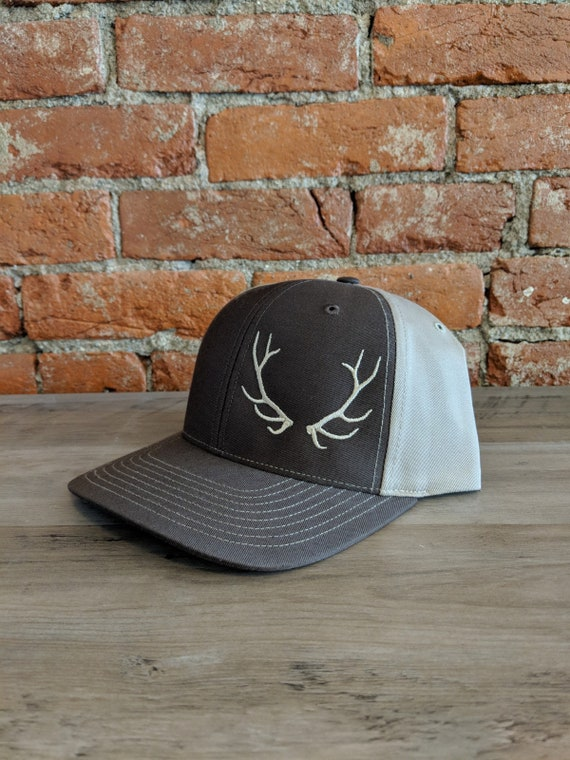627050741eb37 Elkhorn Embroidery Antler Hat on Richardson 312 Brown Khaki