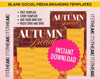 INSTANT DOWNLOAD – Autumn Specials – Instagram Post + Instagram Story – Fall Special October Sale Hair Lashes Gloss November Blank Template