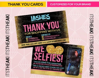 Premade Thank You Cards – Customized For Your Brand – Thank You Card Hair Extension Business Lash Lip Gloss Wig Extensions Glitter Diamonds