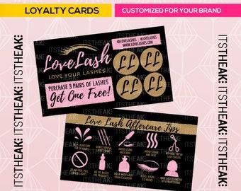 Loyalty Cards – Customized For Your Brand – Reward Card Loyal Lash Extensions Eyelash Artist Lash Tips Eyelash Aftercare Instructions Lashes
