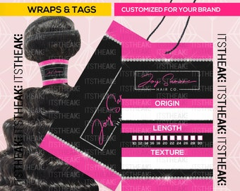 Bundle Wraps & Rectangle Hang Tags – Customized For Your – Hair Extension Packaging Hair Extension Business Branding Wraps Hair Tags Labels