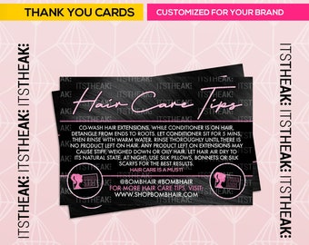 Premade Instruction Cards – Customized For Your Brand – Hair Care Tips Lash Care Tip Hair Extensions Lash Maintenance Applying Lashes How To