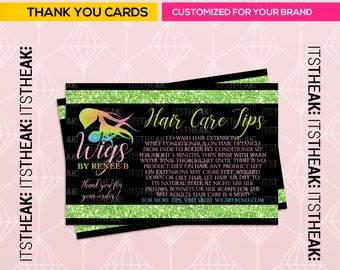 Premade Instruction Card – Customized For Your Brand – Hair Care Tips Lash Tips Hair Extension Maintenance How To Apply Lashes Instructions