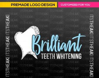 Premade Teeth Whitening Logo – Glam Tooth Logo Dentist Gemstones White Esthetician Premade Dental Logo Sparkles Glitter Whitening Services