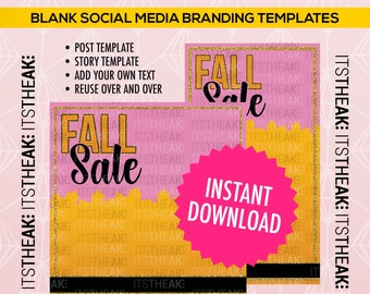 INSTANT DOWNLOAD – Fall Sale – Instagram Post + Instagram Story – Autumn Special October Sale Hair Extensions Lash November Blank Template