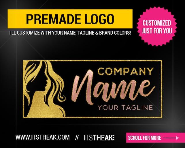 Premade Hair Logo Design Hair Bundle Hair Extensions Company Etsy