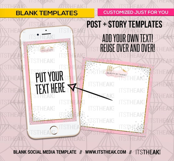 Premade Blank Social Media Templates – Add Your Own Text – Social Media  Frame IG Post IG Story Hair Extension Business Diamonds Reusable