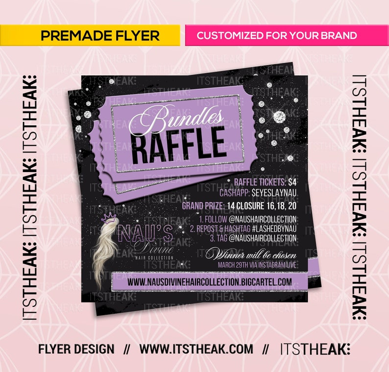 Premade Hair Raffle Flyer – Customized For Your Brand – Giveaway Contest  Hair Extensions Hair Business Bundles Raffles Tresses Wig ITSTHEAK