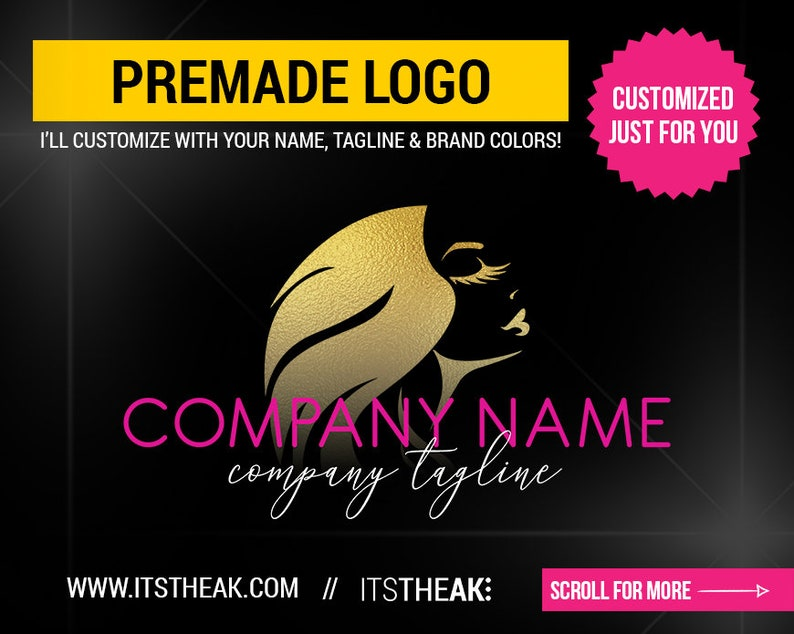 93119bf47c0 Premade Eyelash Logo Beauty Lash Lashes Logo Eyelash   Etsy