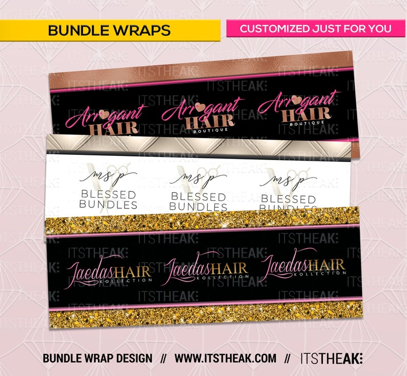 3d47aa00 Bundle Wraps Customized For You Hair Extension Packaging | Etsy