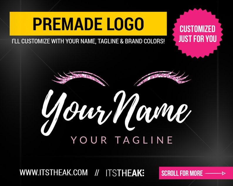 Premade Eyelash Logo – Lash Boutique Beauty Lash Artist Branding Eyelash  Bar Mink Lashes Glitter Lash Branding Lash Company Glam Script Luxe