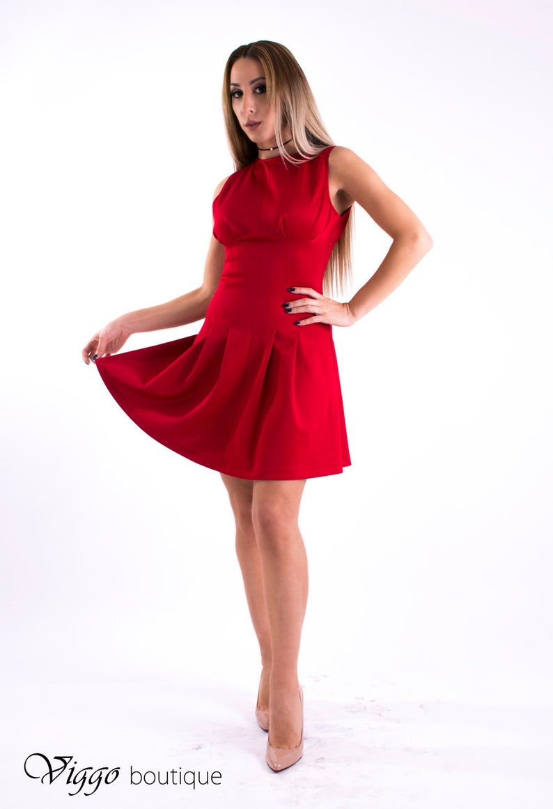 check out 4ddd8 e8e37 Scharlach, rotes Kleid, Partykleid, Sexy Kleid
