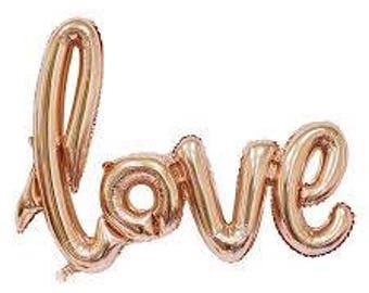 Ballon d'hélium Non Script de l'amour. Air amour remplir le ballon. Mariage, anniversaire, fiançailles, douche nuptiale, faire. En or Rose, or, argent.
