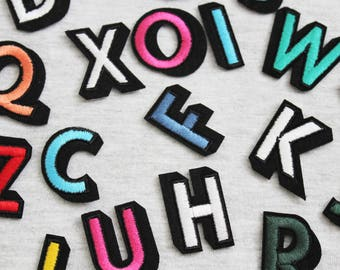 26 colorful letters iron on patch embroidered patch letter patch denim patch iron on hatjacketjeansbagsshoes diy
