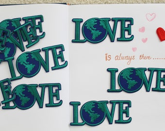 LOVE earth environment iron on patch, green, letter patch, embroidered patch, iron on bag, jeans, jackets, DIY