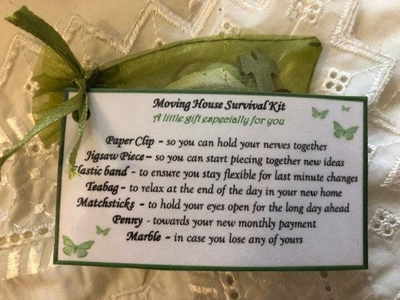 New Home Good Luck Survival Kit Novelty Fun Keepsake Laminated Tag Gift bag