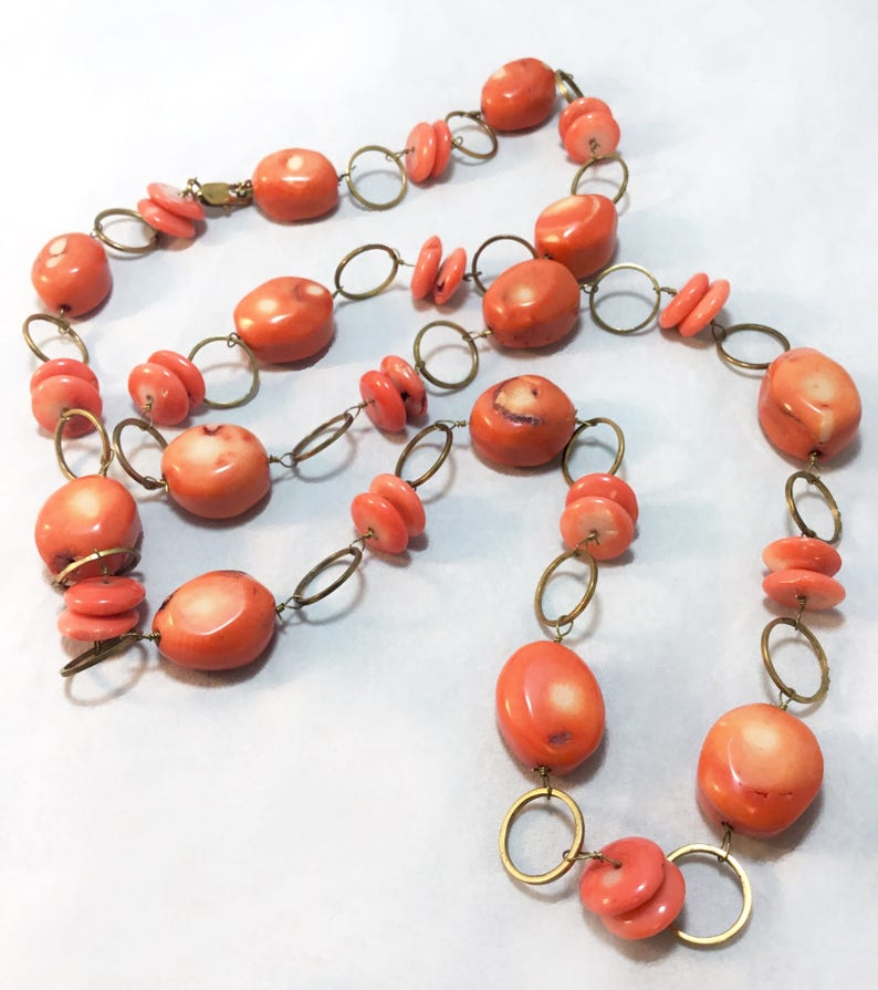Antique Natural Salmon Pink /& Red Orange Coral Gold tone Link Necklace
